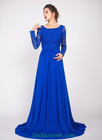 مدل لباس مجلسی گیپور آبی رنگ