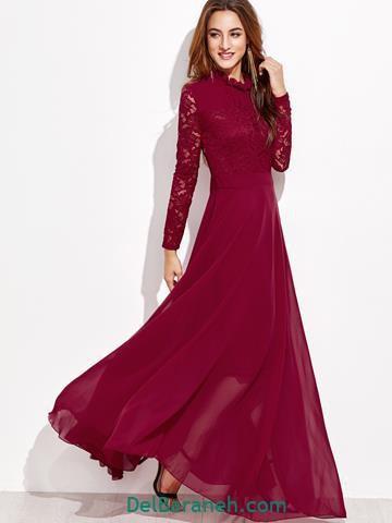 مدل لباس مجلسی گیپور رنگ زرشکی
