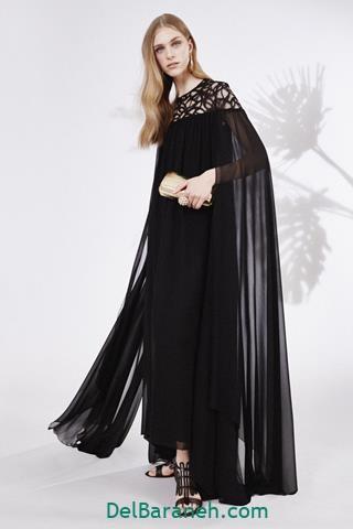 مدل لباس بلند مجلسی مشکی حریر دخترانه