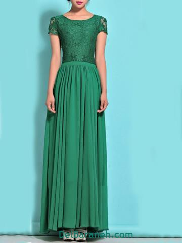 مدل لباس مجلسی بلند سبز کار شده