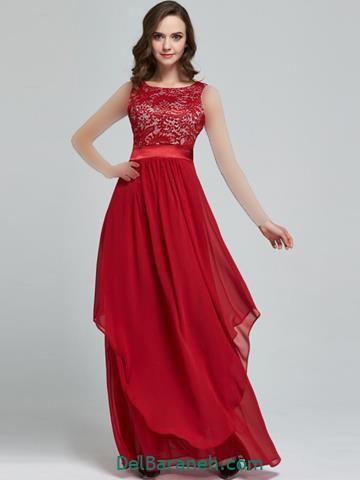 مدل لباس مجلسی بلند قرمز در اینستاگرام