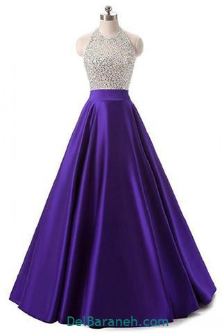 مدل لباس مجلسی بلند پولکی رنگ بنفش