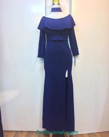 مدل لباس مجلسی بلند با پارچه سورمه ای