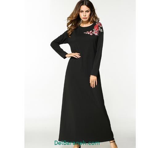 مدل لباس بلند مجلسی مشکی ساده گلدار