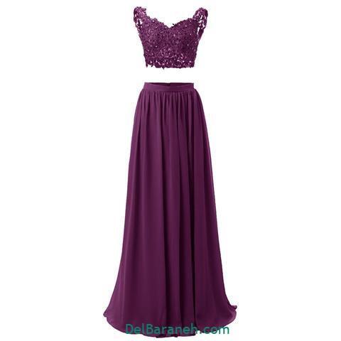 مدل لباس مجلسی بلند گیپور رنگ بادمجونی