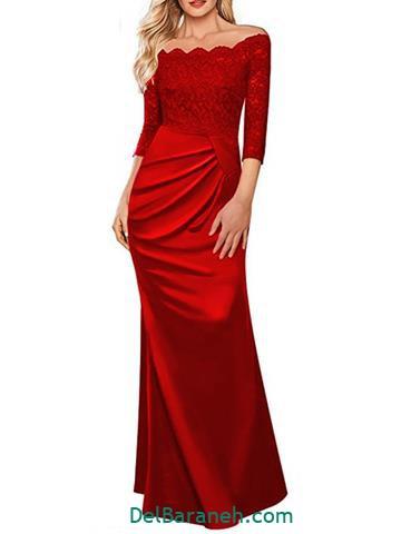 مدل لباس مجلسی بلند دانتل قرمز