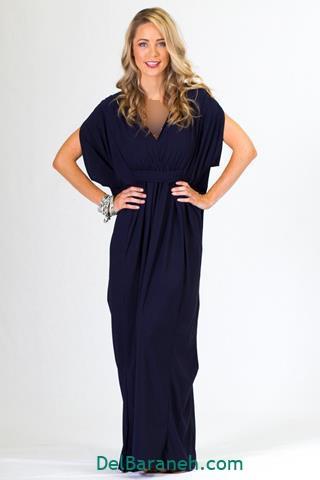 مدل لباس بلند مجلسی سورمه ای دخترانه شیک