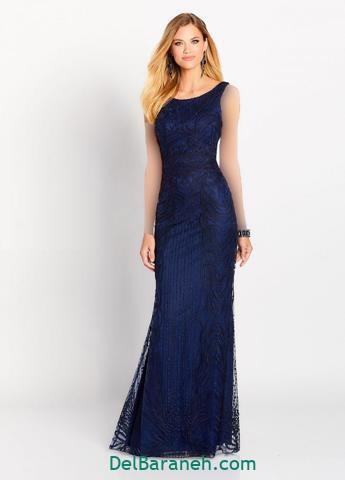 مدل لباس مجلسی بلند گیپور سورمه ای