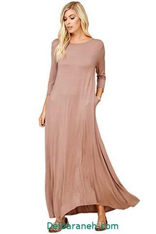 مدل لباس بلند مجلسی رنگ کرمی