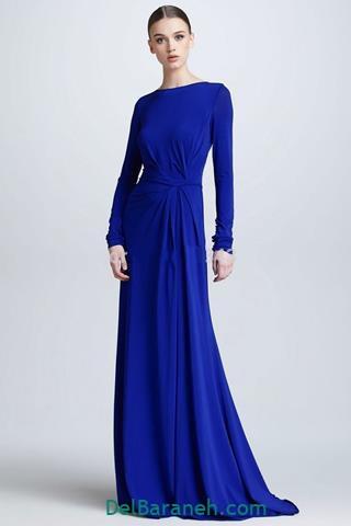 مدل لباس بلند مجلسی پوشیده رنگ آبی