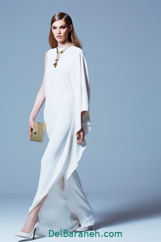مدل لباس مجلسی بلند رنگ سفید دخترانه