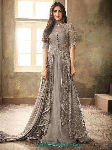 مدل لباس مجلسی بلند رنگ خاکستری
