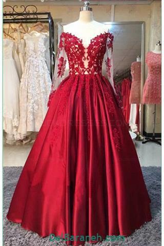 مدل لباس مجلسی بلند کار شده قرمز
