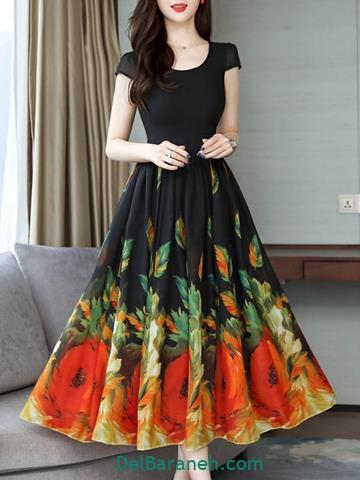 مدل لباس مجلسی بلند مشکی گلدار
