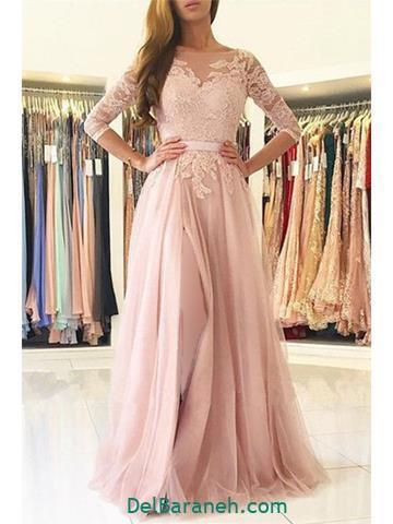 مدل لباس مجلسی بلند صورتی کار شده