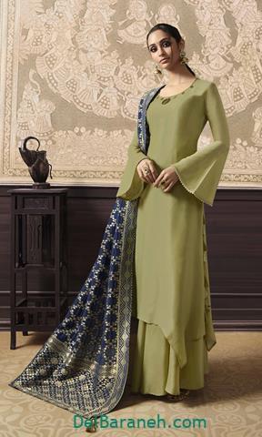 مدل لباس مجلسی بلند سبز طرح هندی