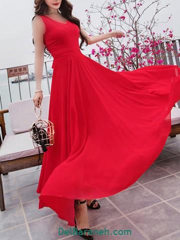 مدل لباس مجلسی بلند قرمز بدون آستین