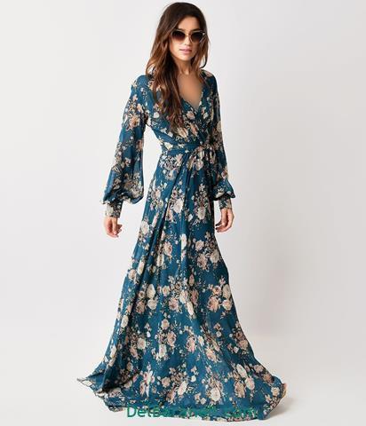 مدل لباس مجلسی بلند گلدار شیک