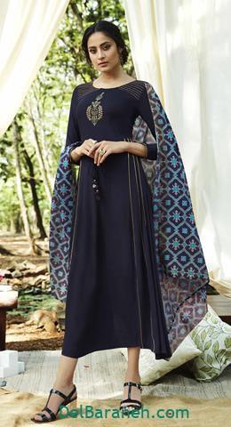 مدل لباس مجلسی بلند سورمه ای هندی