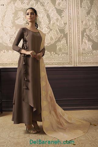 مدل لباس مجلسی بلند قهوه ای