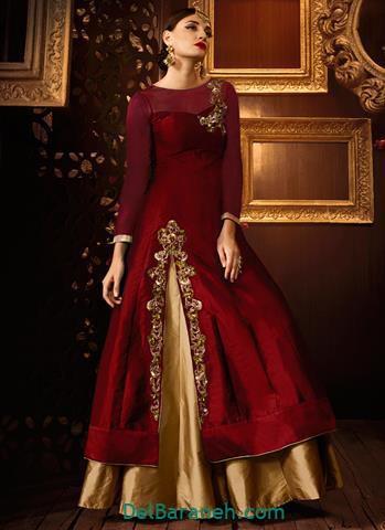 مدل لباس مجلسی بلند ساتن دار