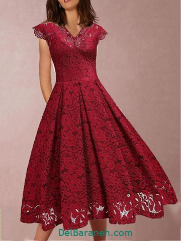 مدل لباس مجلسی بلند گیپور قرمز