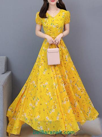 مدل لباس مجلسی بلند زرد گلدار