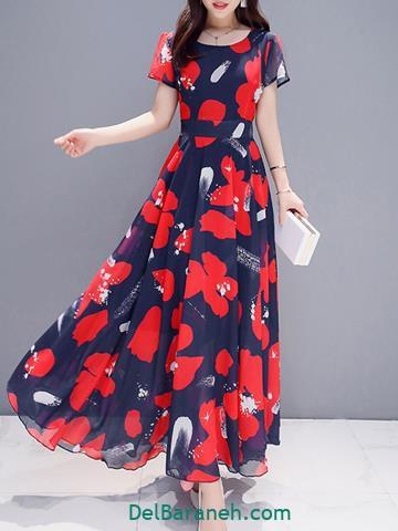 مدل لباس مجلسی بلند نخی گلدار
