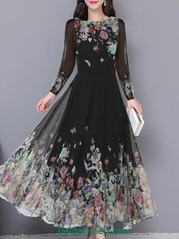 مدل لباس مجلسی بلند سیاه حریر