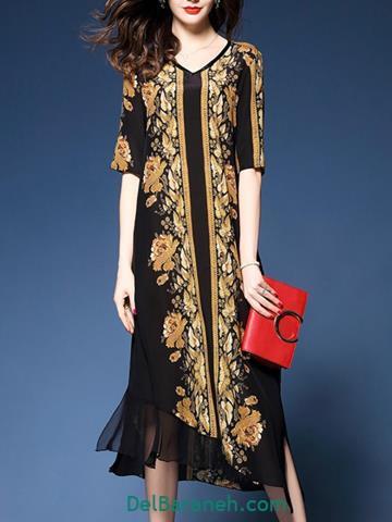 مدل لباس مجلسی بلند دخترانه گلدار