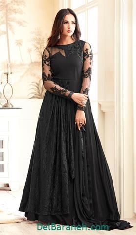 ست لباس مجلسی بلند مشکی زنانه