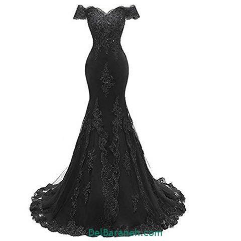 لباس مجلسی گیپور بلند مشکی زنانه