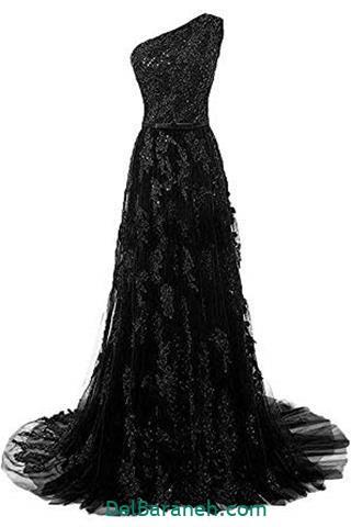 لباس مجلسی بلند گیپور طرح دار مشکی