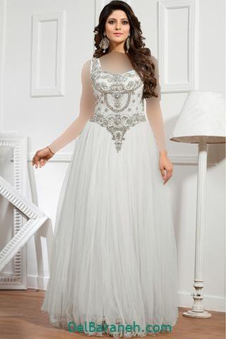 لباس مجلسی بلند گیپور طرح دار سفید
