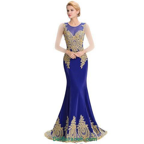مدل لباس مجلسی بلند کار شده آبی