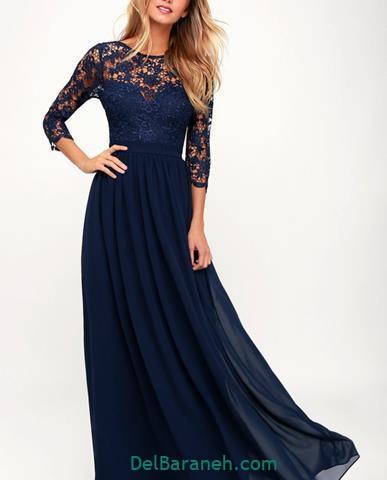 مدل لباس آستین دار بلند سورمه ای