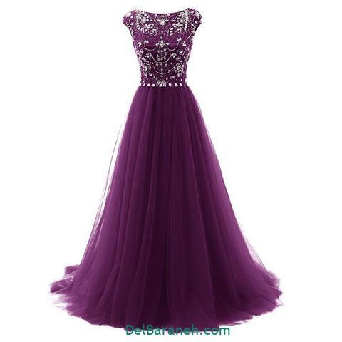 مدل لباس آستین دار بلند بنفش
