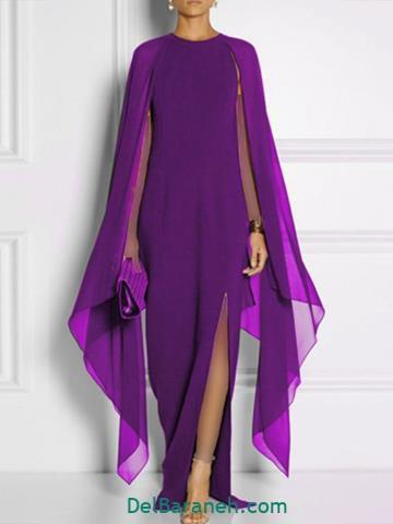 مدل لباس بلند حریر زنانه رنگ بنفش