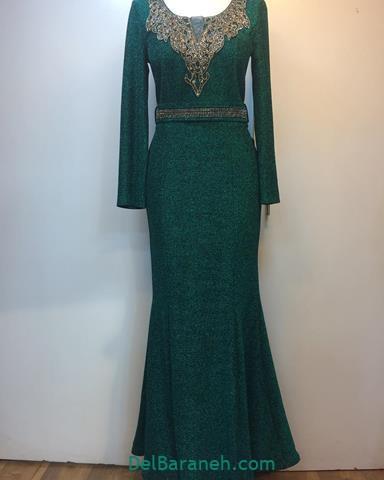 مدل لباس بلند زنانه رنگ یشمی