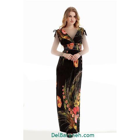 مدل لباس بلند زنانه گلدار مشکی