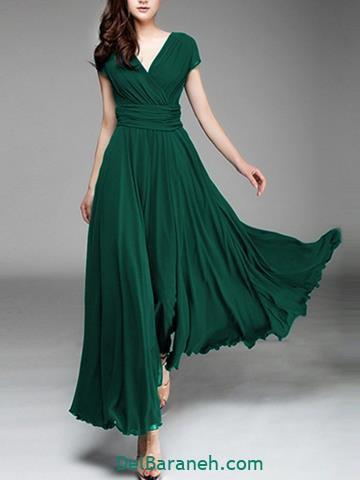 مدل لباس مجلسی بلند سبز زمردی