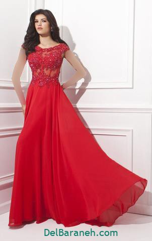 مدل لباس مجلسی گیپور قرمز رنگ بلند