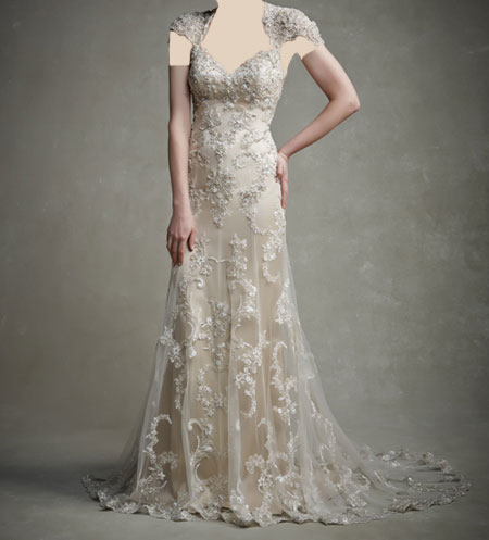لباس عروس دانتل ,لباس عروس پوف دار (11)