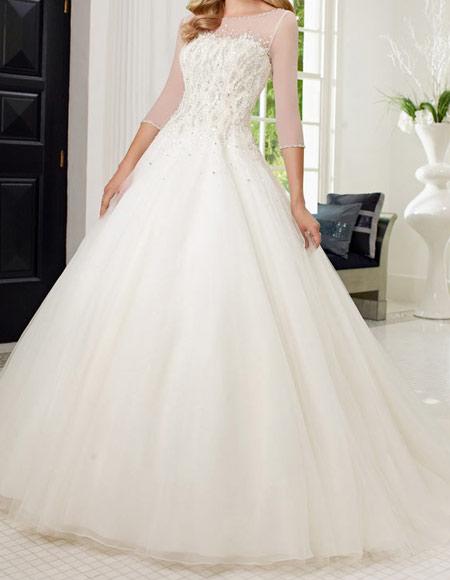 لباس عروس پوشیده,لباس تور شیک و پوشیده,لباس عروس آستین دار (10)