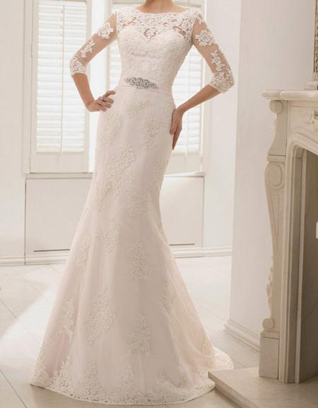 لباس عروس پوشیده,لباس تور شیک و پوشیده,لباس عروس آستین دار (2)