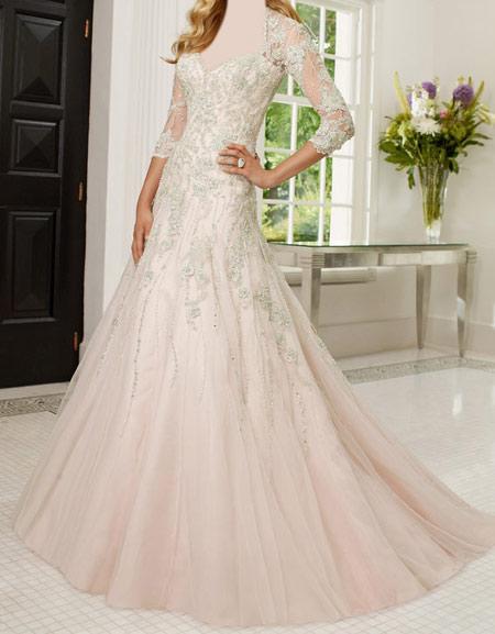 لباس عروس پوشیده,لباس تور شیک و پوشیده,لباس عروس آستین دار (3)