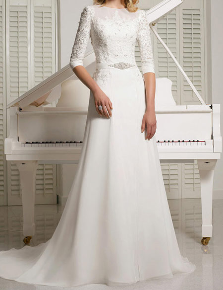 لباس عروس پوشیده,لباس تور شیک و پوشیده,لباس عروس آستین دار (4)