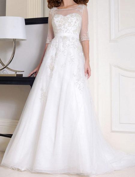 لباس عروس پوشیده,لباس تور شیک و پوشیده,لباس عروس آستین دار (5)