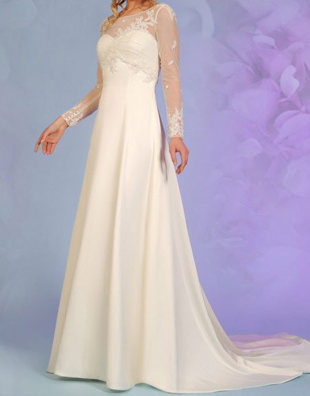 لباس عروس پوشیده,لباس تور شیک و پوشیده,لباس عروس آستین دار (6)