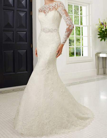 لباس عروس پوشیده,لباس تور شیک و پوشیده,لباس عروس آستین دار (7)